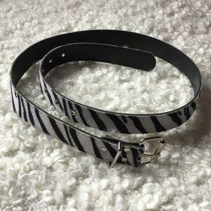Fuzzy zebra print belt
